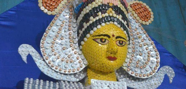 Durga Idol Made Out Of Medical Waste