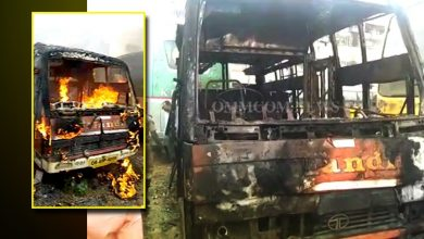 Photo of Parked Bus Catches Fire At Puri Stand In Cuttack City, No Casualty
