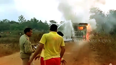 Photo of Miscreants Torch Stone-Chips Laden Truck In Dhenkanal