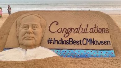 Photo of Sudarsan Pattnaik Congratulates Odisha CM With Sand Art