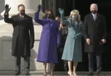 Photo of Kamala Harris Rocks Purple Outfit, Emhoff In Ralph Lauren Suit