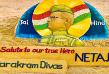 Photo of Sudarsan Pattnaik Pays Sandy Tribute To Netaji On 125th Birth Anniversary