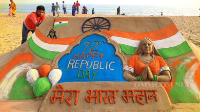 Photo of Sand Art On R-Day Mesmerizes Puri Golden Beach